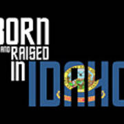 Born And Raised In Idaho Birthday Gift Nice Design Poster
