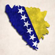 Bosnia And Herzegovina Map Art With Flag Design Poster