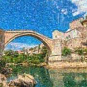 Bosnia Mostar Herzegovina Europe Travel Landmark Poster