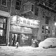 Boston Chinatown Snowstorm Tyler St Black And White Poster