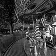Boston Common Carousel Boston Ma Black And White Poster