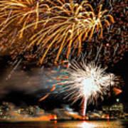 Boston Fireworks On The Charles Poster