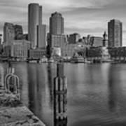Boston Habor Sunrise Bw Poster