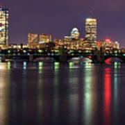 Boston Harbor Nights-panorama Poster by Joann Vitali