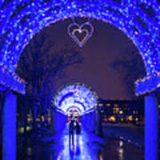 Boston Ma Christopher Columbus Park Trellis Lit Up For Valentine's Day Rainy Night Poster
