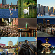 Boston Ma Nine Image Collage 1 Poster