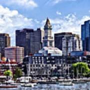 Boston Ma - Skyline With Custom House Tower Poster
