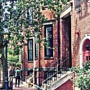 Boston Ma - Walking The Dog On Mount Vernon Street Poster