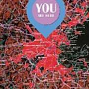 Boston Massachusetts 1948 Red Old Map You Are Here Poster
