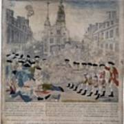 Boston Massacre.  British Troops Shoot Poster by Everett