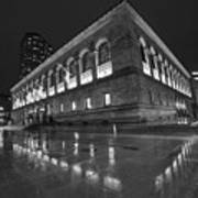 Boston Public Library Rainy Night Boston Ma Black And White Poster