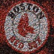 Boston Red Sox Bottle Cap Mosaic Poster by Paul Van Scott
