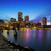 Boston Skyline At Dusk Poster
