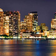 Boston Skyline At Night Panorama Poster