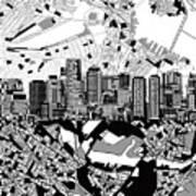 Boston Skyline Black And White Poster