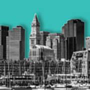 Boston Skyline - Graphic Art - Cyan Poster