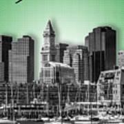 Boston Skyline - Graphic Art - Green Poster
