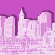 Boston Skyline - Graphic Art - Pink Poster