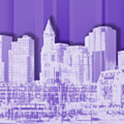 Boston Skyline - Graphic Art - Purple Poster