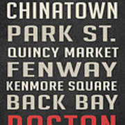 Boston Subway Stops Poster Poster