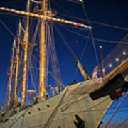 Boston Tall Ship Flags Boston Ma Sailors Blue Sky Poster