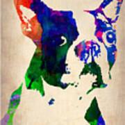 Boston Terrier Watercolor Poster by Naxart Studio