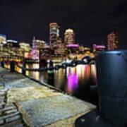 Boston Waterfront Skyline View Boston Ma Poster