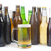 Bottles Of Beer And Beer Mug.  Poster