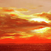 Bound Of Glory - Red Panoramic Sunset  Poster