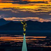Bountiful Sunset - Moroni Statue - Utah Poster