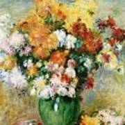 Bouquet Of Chrysanthemums Poster by Pierre Auguste Renoir