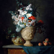 Bouquet Of Flowers In A Terracotta Vase With Peaches And Grapes Poster