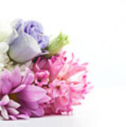 Bouquet Of Fresh Flowers Isolated On White Poster