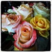 Bouquet Of Mature Roses At The Counter Poster