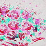 Bouquet Of Pink Roses Poster