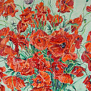 Bouquet Of Red Poppies With Soft-blue Background Poster