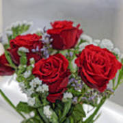 Bouquet of red roses with white carnations Poster