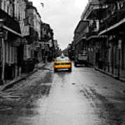 Bourbon Street Taxi French Quarter New Orleans Color Splash Black And White Watercolor Digital Art Poster
