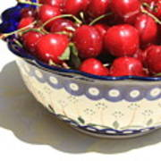 Bowl Of Cherries With Shadow Poster