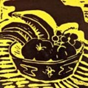 Bowl Of Fruit Black On Yellow Poster