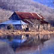 Boxely Barn Reflection Poster