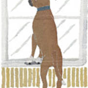 Boxer Dog Art Hand-torn Newspaper Collage Art Poster