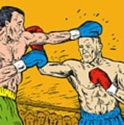 Boxer Punching Poster by Aloysius Patrimonio
