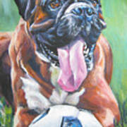 Boxer Soccer Poster by Lee Ann Shepard