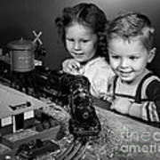 Boy And Girl With Train Set, C.1950s Poster