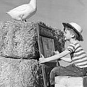 Boy Drawing Duck, C.1950s Poster