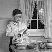 Boy Drying Dishes, C.1950s Poster