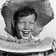 Boy Eating Watermelon, C.1940-50s Poster