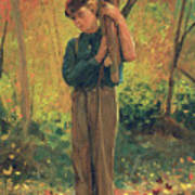 Boy Holding Logs Poster by Winslow Homer
