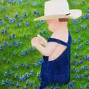 Boy In The Bluebonnets Poster